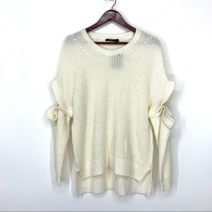 Ivory Knit Ruffle Exposed Arm Crew Neck Sweater M